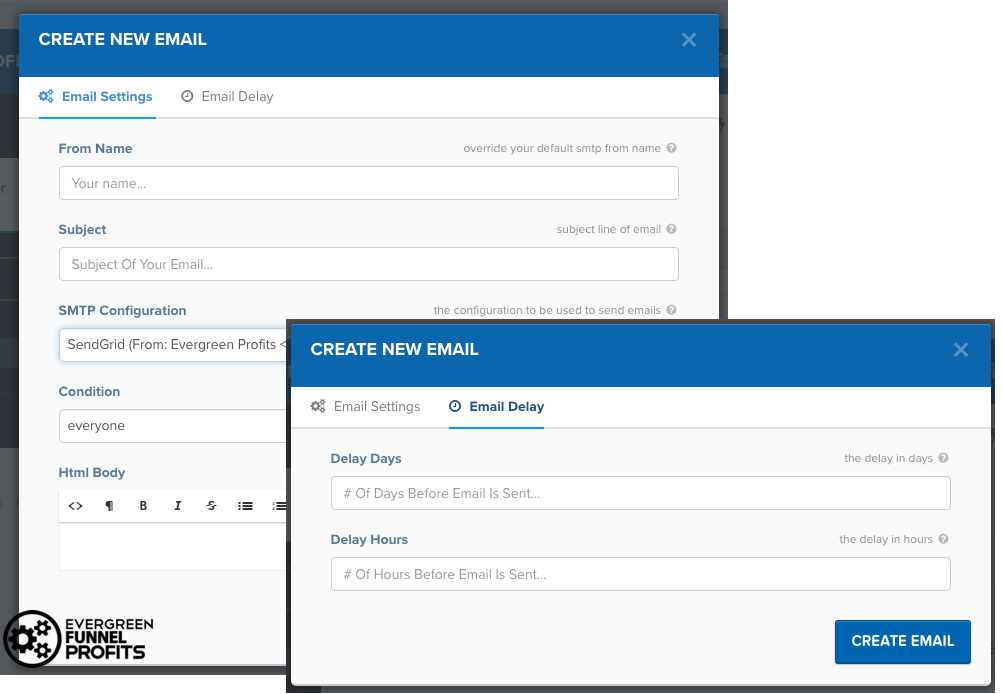Clickfunnels Vs LeadPages - Create a new email