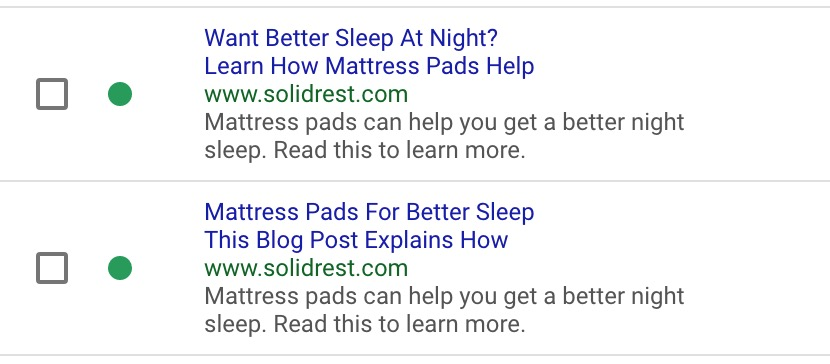 Mattress Pads - Google Adwords - Traffic Strategy