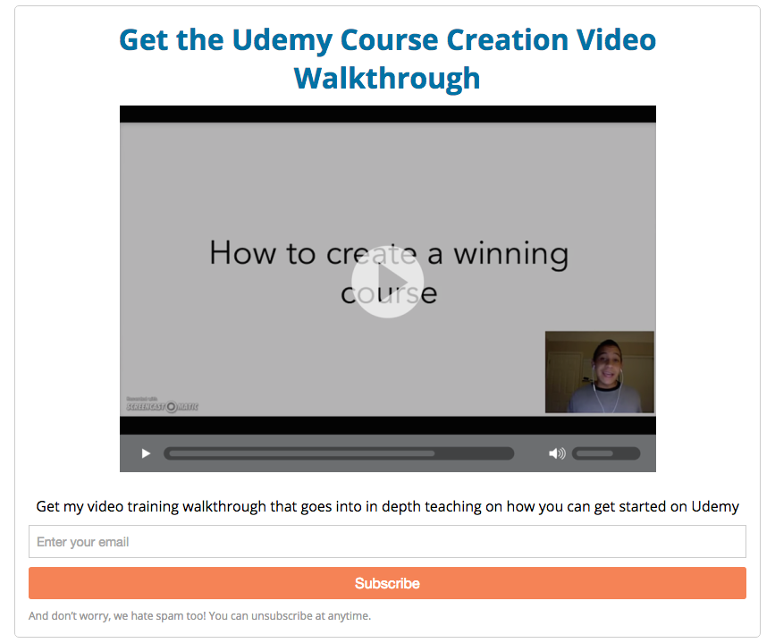 Udemy CTA example